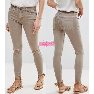 FP Destroyed Skinny Jeans Steel Taupe Distressed